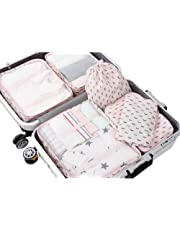 PROMUN Travel Packing Cubes, 6 Set Luggage Organizer with Laundry Bag, Luggage Compression Pouches, Waterproof (Pink)