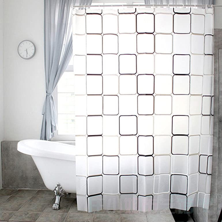 ZHH PEVA Shower Curtain Waterproof Fabric With Hooks 180 X 220 Cm White Black Squares Pattern Amazoncouk Kitchen Home