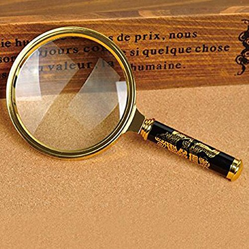 Xfome Style 90mm Handheld 5X Loupe Magnifier Magnifying Glass Lens Perfect Viewing Small New (90mm, Golden Dragon Design)