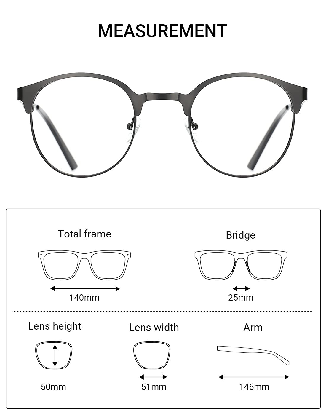 TIJN New Round Metal Non-Prescription Glasses Frame with Clear Lens ...