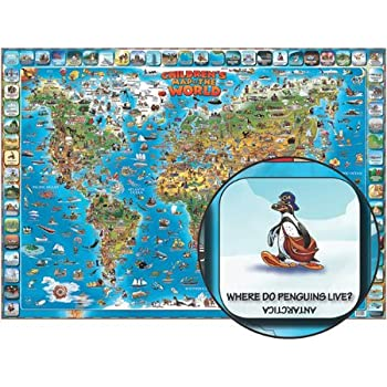 Amazon childrens map of the world educational poster laminated childrens map of the world educational poster laminated poster 54 x 38in gumiabroncs Images