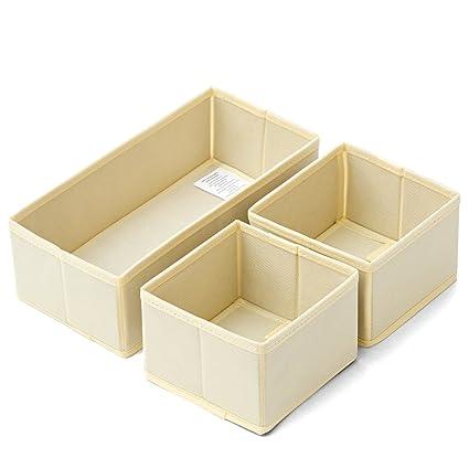 EZOWare Caja de Almacenaje con 3 pcs, Caja Multiuso, Caja de Tela, Color