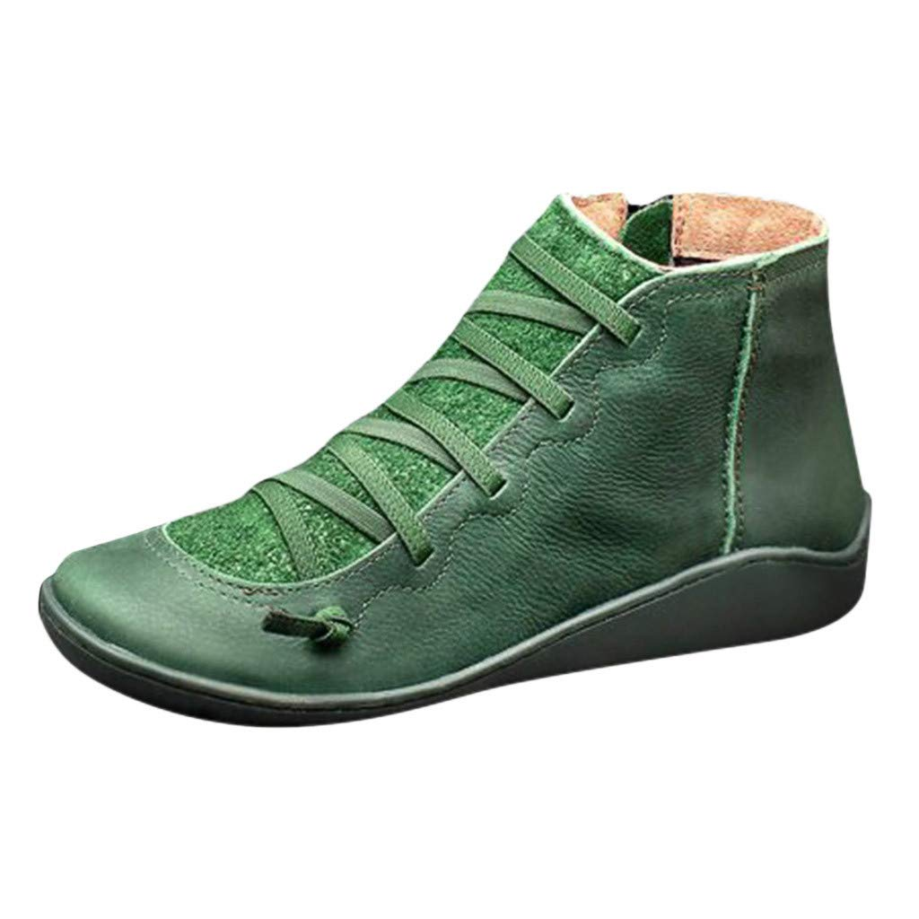 ZOMUSAR Women's Boots, Fashion Women's Casual Flat Leather Retro Lace-up Boots Side Zipper Round Toe Shoe Boots Green by ZOMUSAR
