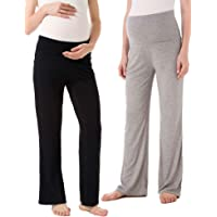 00bf0151a4823 Ecavus Women's Maternity Wide/Straight Versatile Comfy Palazzo Lounge Pants  Stretch Pregnancy Trousers