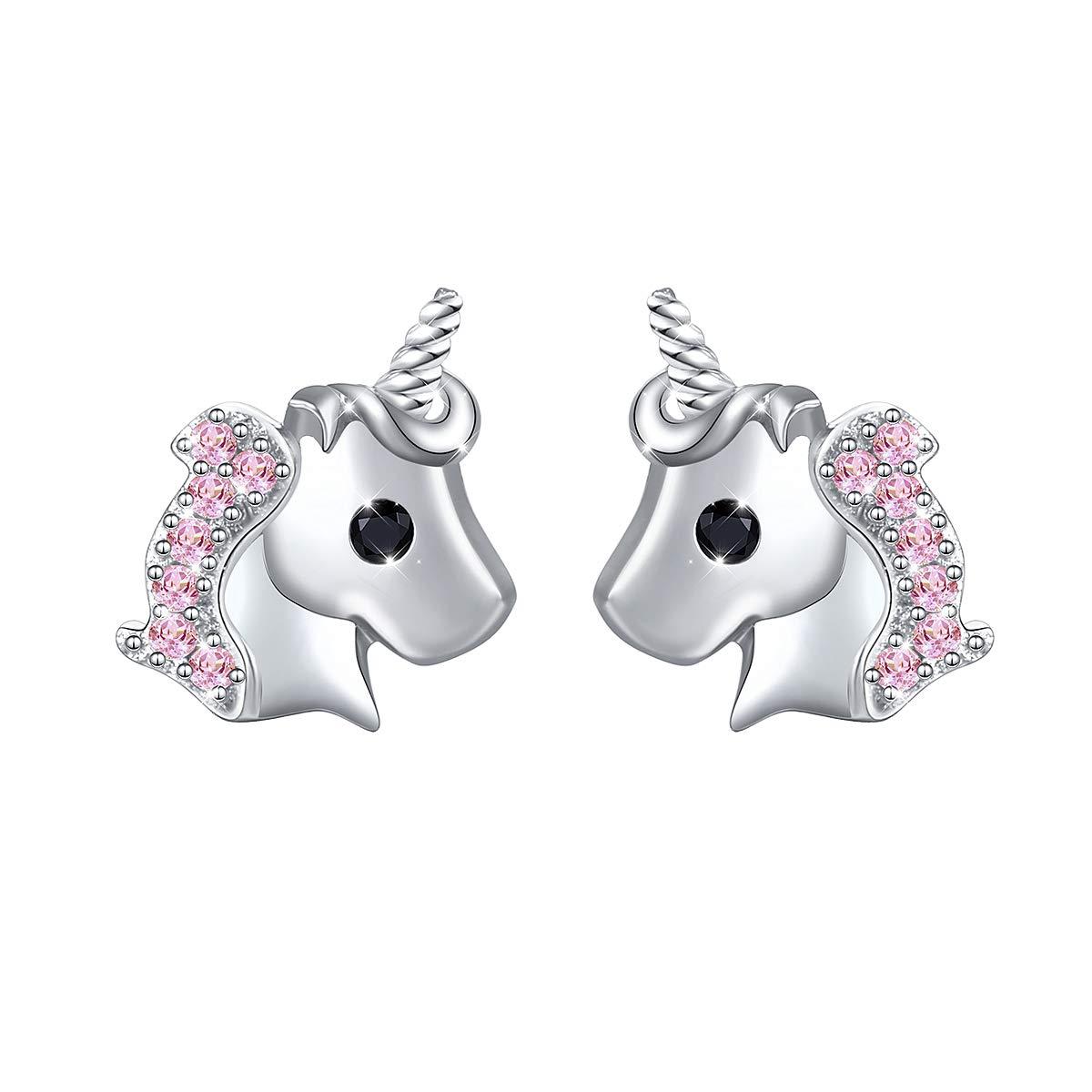 Yearace 925 Sterling Silver Unicorn Gift Cute Cz Unicorn Earring Jewelry for Women Teen Girls Kids Children (Pink) by Yearace