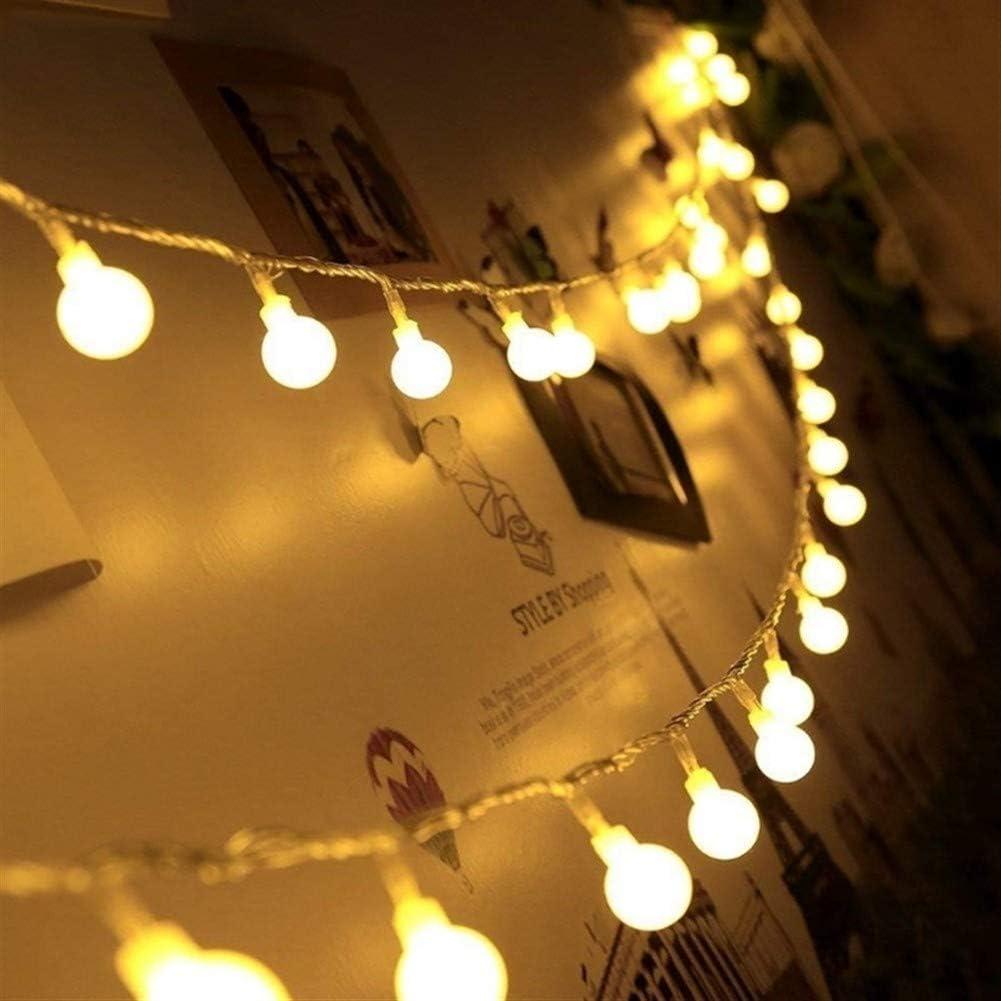 Decoración de luz de lámpara Hada/bola del partido de la batería Lde cadena luz 1M / 2M / 3M / 4M / 5M / 10M 20M día de fiesta de boda christmas lights (Emitting Color : Multicolor-20M 160LEDs) Warm White-5m 50leds