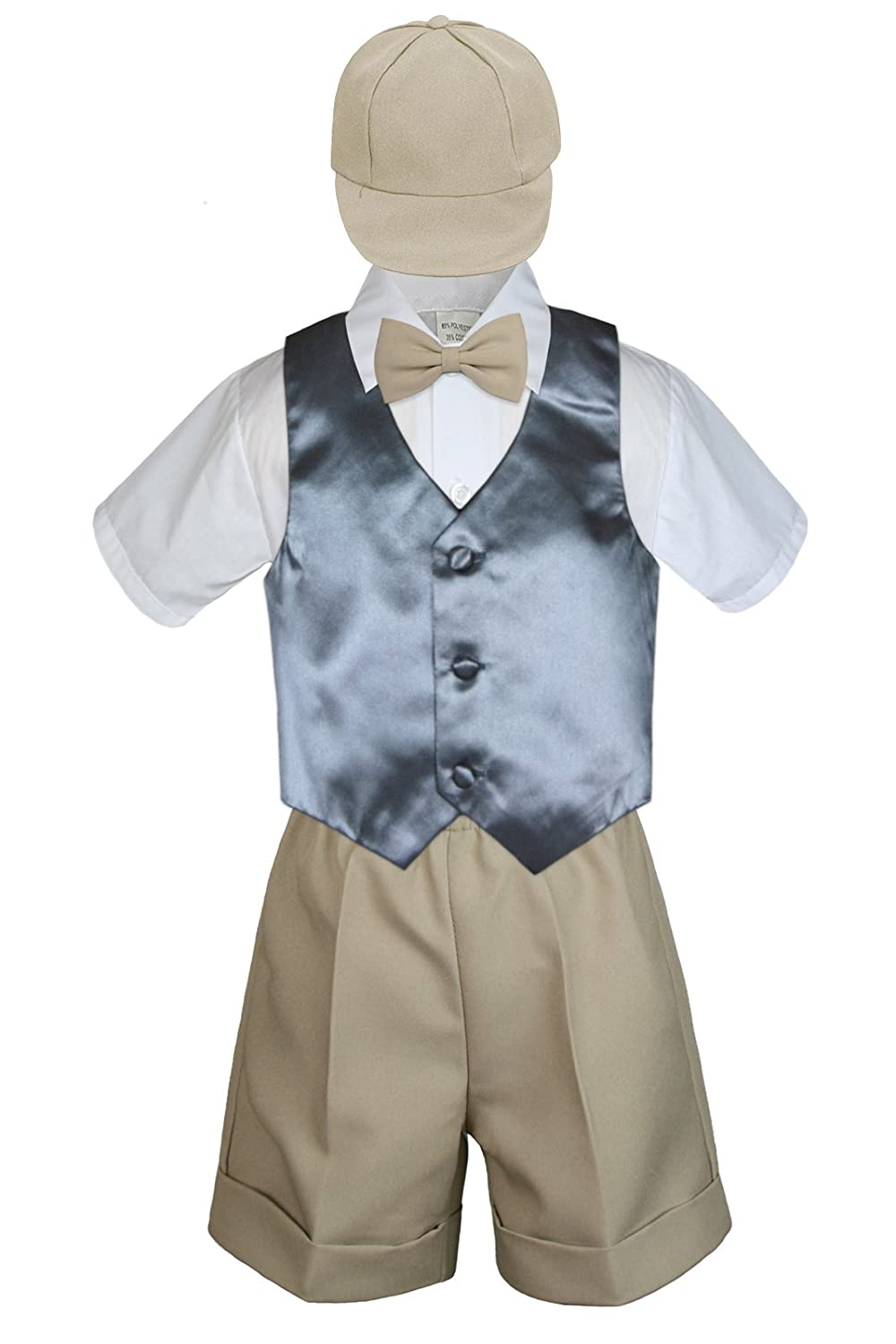 2T Leadertux 5pc Formal Baby Toddler Boys Turquoise Vest Navy Shorts Suits Hat S-4T