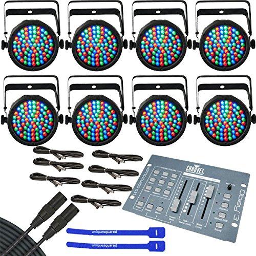 Chauvet SlimPAR 38 LED PAR Cans 8 Pack w/ Obey 3 DMX Controller & DMX Cables & Cable Ties