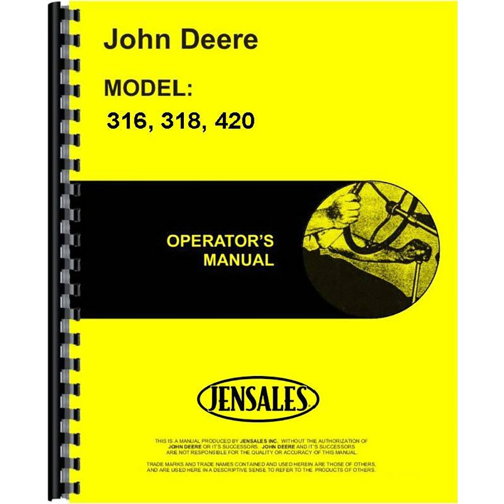 New Operators Manual For John Deere Lawn & Garden Tractor 318 Aftermarket John Deere