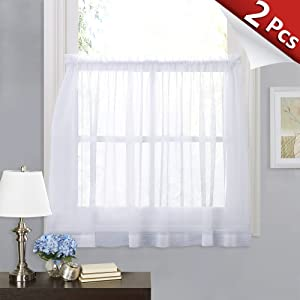 RYB HOME White Sheer Curtain Valance Drapes Half Window Dressing Panels Tiers for Kitchen/Bathroom/Living Room, 60 inch Wide x 36 inch Long Each Panel, 2 Pcs