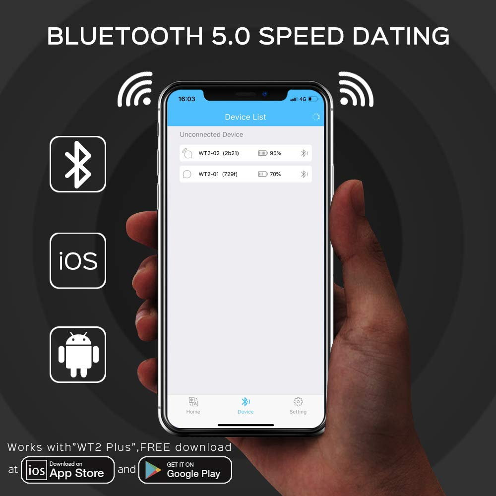 Language Translator Device - Supports 36 Languages & 84 Accents, Voice Translator Earbuds, Wireless Bluetooth Translator with APP, Real Time Translation, Suitable for iOS & Android with Charging Case by WT2 (Image #6)