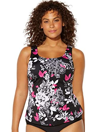 7a59034260 Amazon.com: Swimsuits for All Women's Plus Size Black Pink Floral Tankini  Top: Clothing