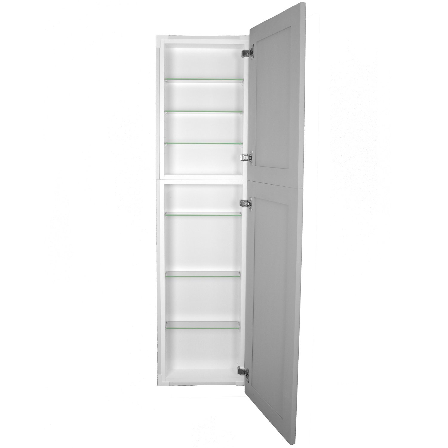 WG Wood Products Shaker Style Frameless Recessed Wall Bathroom Medicine Storage Pantry Cabinet with Multiple Finishes, 50'', Primed/Ready to Paint