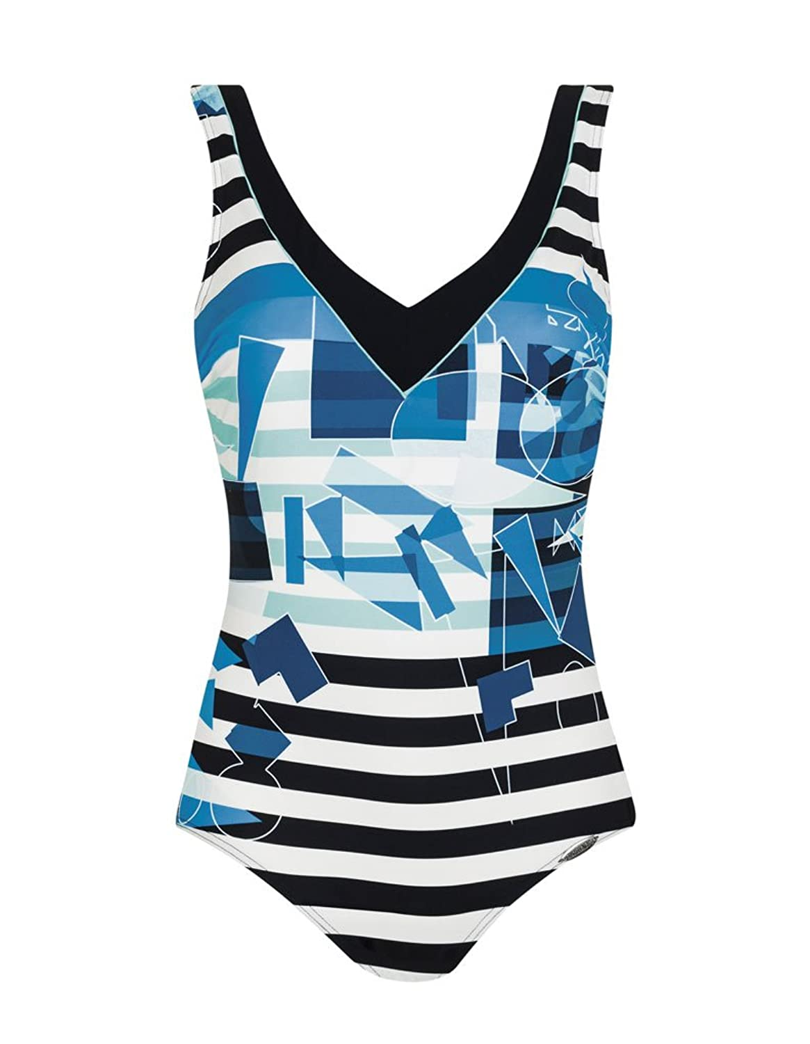 Sunflair 22372 Women's Tummy Control Shaping Black And White Stripe With Blue Geometric Print Non-Padded Non-Wired Swimsuit