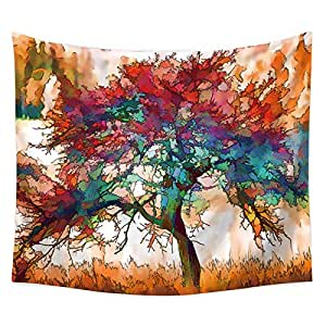 Fashion Colorful Big Tree Pattern Wall Art Hangings Tapestry Beach Towel for Home Living Room Bedroom Decor