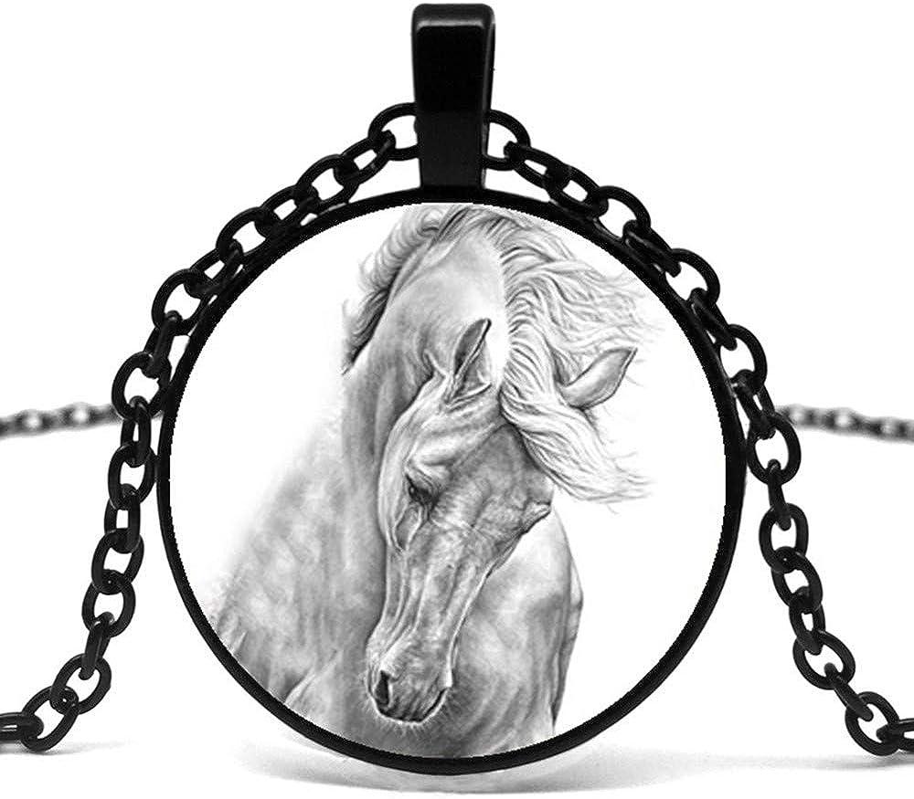 CLEARNICE Collar de Hombre 2019 / Nuevo Caliente Negro Y Blanco Caballo Totem Patrón Cóncavo Vidrio Colgante Collar, Collar De Regalo De Moda