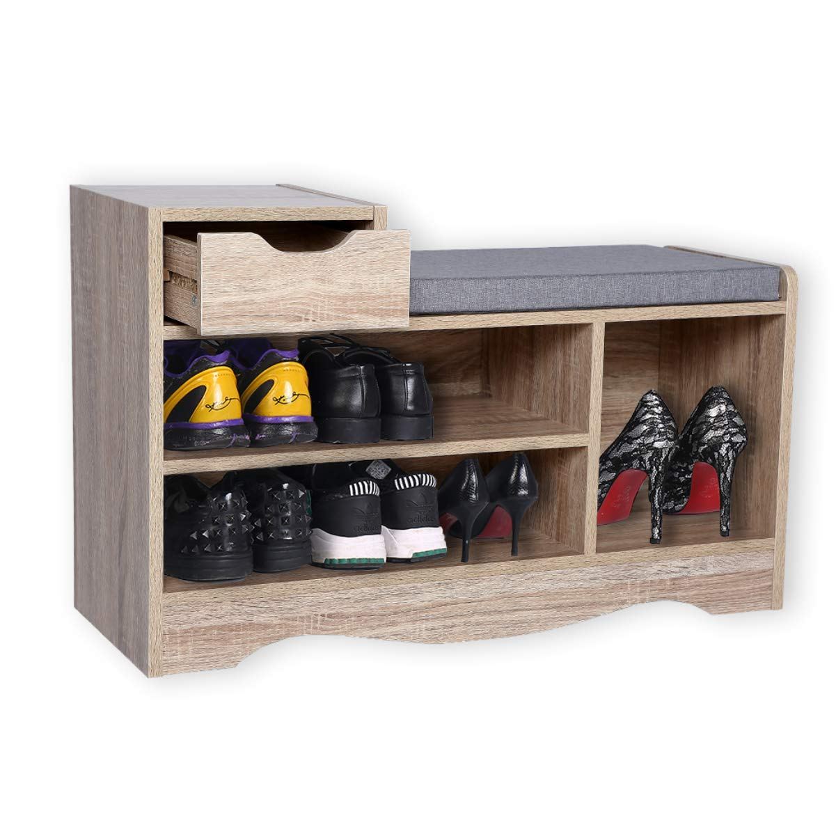 Happy Home Modern Shoe Bench Cabinet, Shoe Storage Racks with Drawer and Seat Cushion for Home, Hallway and Entrance