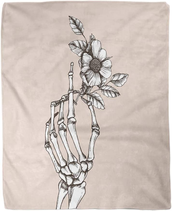rouihot 50x60 Inches Flannel Throw Blanket Bone Hand Skeleton Flower Funeral Love Sketch Vintage Realistic Home Decorative Warm Cozy Soft Blanket for Couch Sofa Bed
