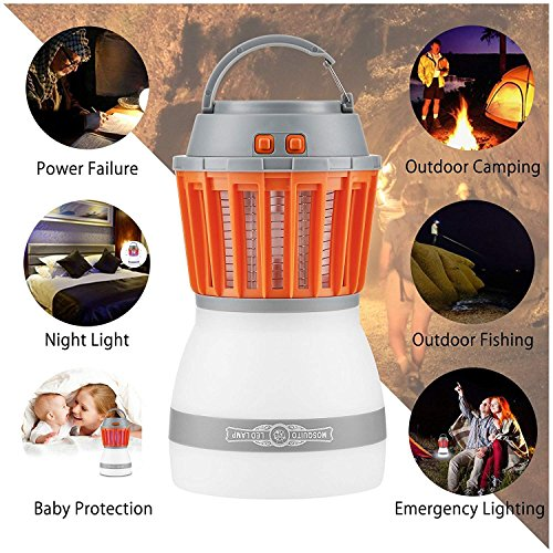 Fellee Bug Zapper, 2-in-1 Mosquito Killer & Camping Lamp Natural Mosquito Killer Lamp Travel Camping Lantern Pest Control USB IP67 Waterproof Insect Repeller for Indoor &Outdoor by Fellee (Image #5)