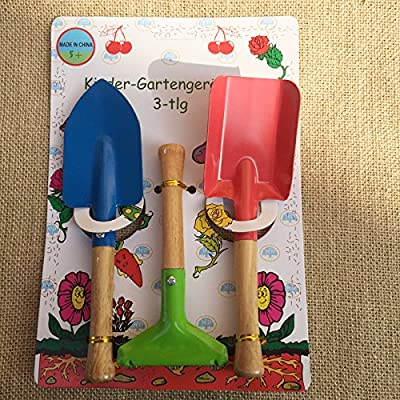 Meiyum Kids Gardening Tools , 3pcs Gardening Tools Trowel, Rake Shovel Garden Toys with Sturdy Wooden Handle for Children Beach Sandbox Toy: Toys & Games