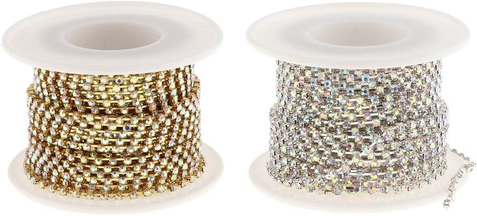 AB Crystal Rhinestone Cup Close Setting Chain 10 Yards 2mm//2.4mm//2.8mm//3mm//4mm SS10 Gold 10 Yards