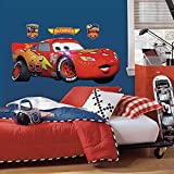 Disney Pixar Cars Lightning Mcqueen Toddler Bedding 4-Piece Bed in a Bag Kids Comforter Set and Giant Wall Decal