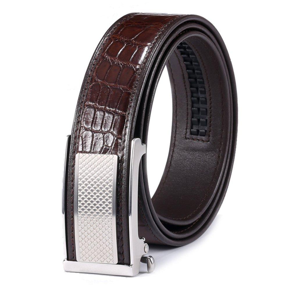 Automatic buckle men's belt Casual business belt-Coffee color 115cm(45inch)