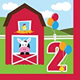 Farmhouse Fun Luncheon Napkin 2nd Bday (18) Farm Animal Barnyard Party
