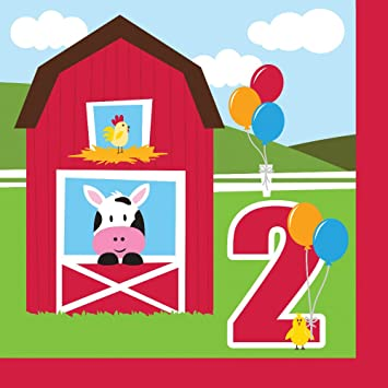 Farmhouse Fun Luncheon Napkin 2nd Bday 18 Farm Animal Barnyard Party
