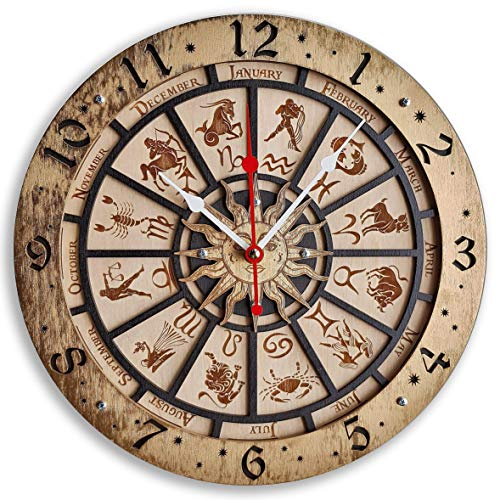 (Zodiac Signs Handcrafted wooden wall clock, astronomical,vintage, housewarming, one-of-a-kind, gift, San Marco, Venice, Itali, Gold Black)