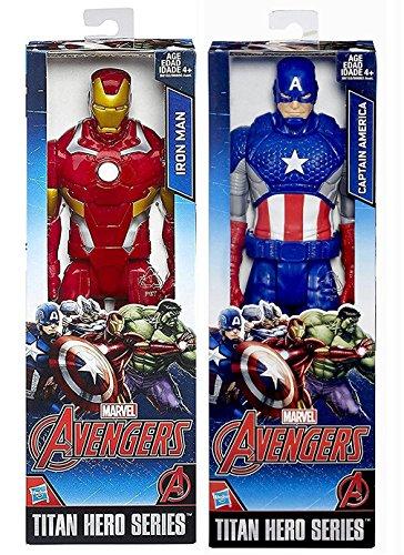 "Marvel Titan Hero Series Avengers Iron-Man VS Captain America Avengers Civil-War Characters Posable 12"" Action Figure Moveable Series"