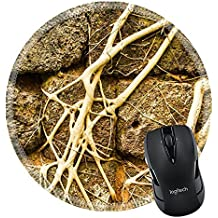 MSD Natural Rubber Mousepad Round Mouse Pad 20444397 Cambodia vintage rock wall with root tree