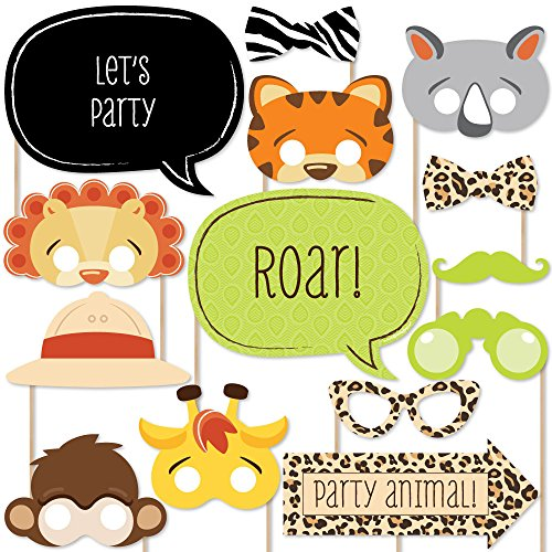 Prop Ideas For Photo Booth (Big Dot of Happiness Funfari - Fun Safari Jungle - Photo Booth Props Kit - 20)