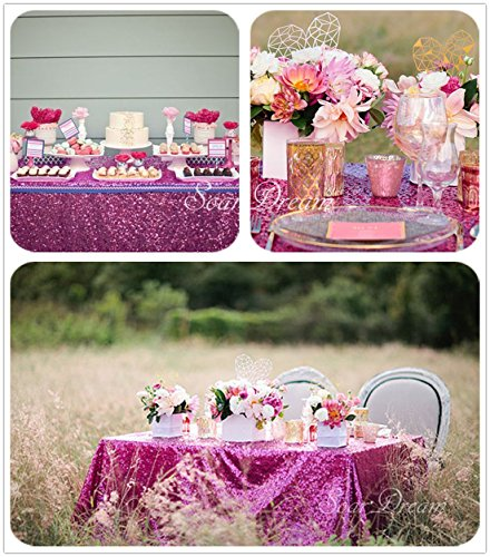 SoarDream 50x80 inch sparkly Fuchsia Sequin Tablecloth for Wedding Banquet Party sequin decorations for $<!--$14.90-->
