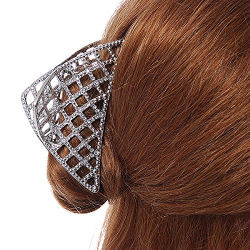 Avalaya Large Crystal Square Pattern Hair Claw In Rose Gold Plating - 90mm Across sIr3IQS