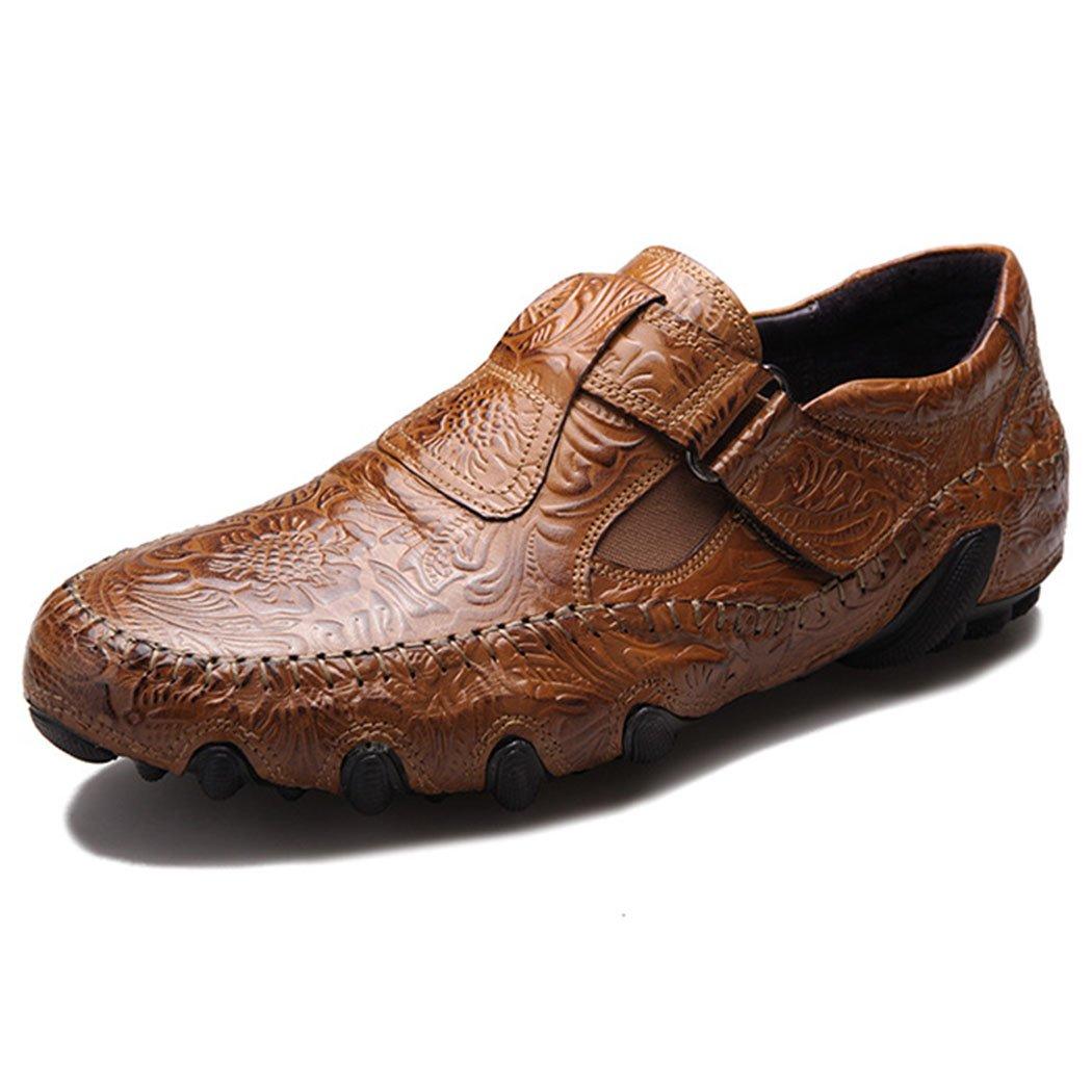 GAOLIXIA Zapatos de Conducción de Cuero Genuino de los Hombres Zapatos Ocasionales Respirables de Verano Zapatos Ocasionales Inferiores Suaves Mocasines de Moda Zapatos Negro Marrón de Gran Tamaño 43|Marrón