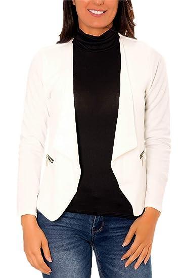 870366844251 Dmarkez-Vous Veste Blazer Blanche Femme habillée Courte Chic Unie avec  Poches et Zip Or