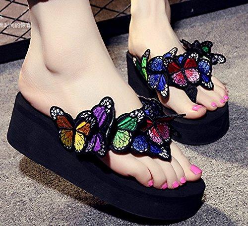 On Mules Easemax Papillon Femme Compensée Noir Chaussure Spécial Slip T0Y7w0