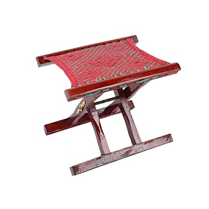 Amazon Com Yqq Small Stool Solid Wood Folding Chair Red