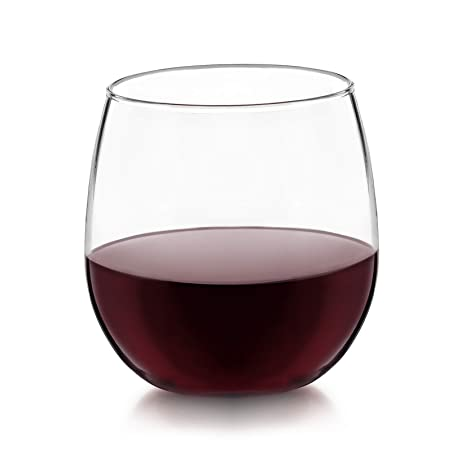 3cab497ba8f7 Amazon.com  Libbey Vina Stemless Red-Wine Glasses (16.75oz Set of 4)   Kitchen   Dining