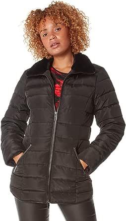 Roman Originals Abrigo corto acolchado para mujer, estilo informal, para el día con pelo sintético, cuello acolchado, con pespuntes