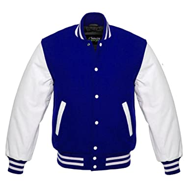 fashion club men s varsity real leather white sleeves wool letterman