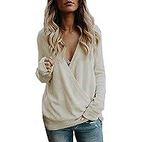 Pull en Tricot Femme CIELLTE Chandail Cross Wrap Col V Sweater Stylé Autumn Hiver Knitwear Couleur Unie Hooded Grande Taille Rétro Confortable