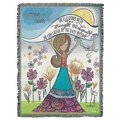 Strength and Dignity Proverbs 31:25 All Cotton 52 x 68 Tapestry Throw Blanket