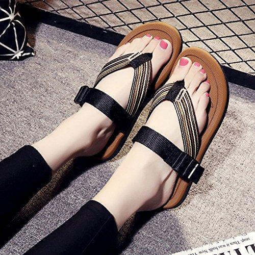 EU37 1002 de for beach Portátil moda LIXIONG Zapatos Plano Tacón 4 Summer 1002 Tamaño Comfort Color Pisos Mujeres Casual CN37 5 UK4 awq8P6z