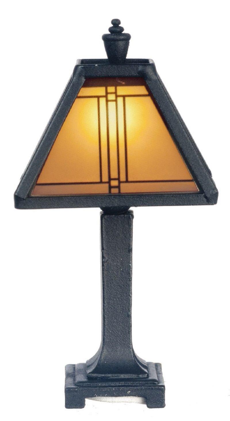 Dollhouse Miniature Craftsman Tiffany Lamp in Dark Bronze