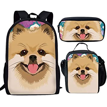 abe98b5c94a4 Showudesigns 3 Pieces School Backpack Set Kids Bookbag and Small Lunch Bag  Pencil Case Pomeranians Print