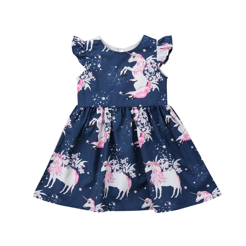 Genenic Baby Little Girls Unicorn Print Dress Sleeveless Ruffle Summer Dress