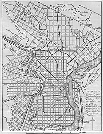 Amazoncom PHILADELPHIA Plan of Philadelphia 1882 old map