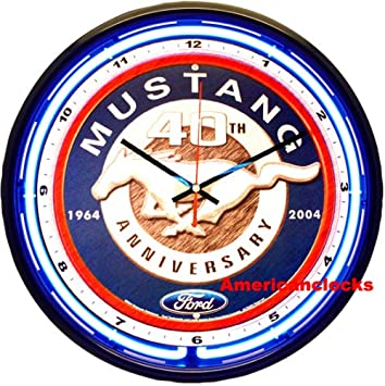 Amazoncom NEON Light 16Official Ford Mustang NEON Wall Clock